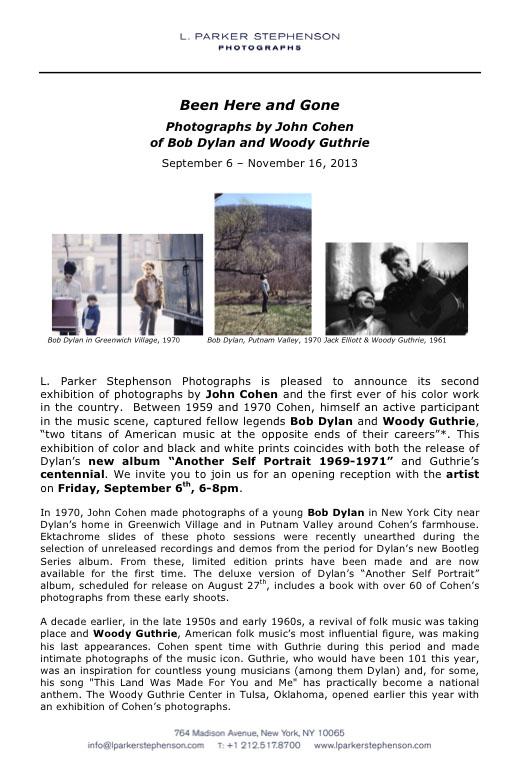 Bob Dylan Another Self Portrait Deluxe John Cohen Exhibit at ...