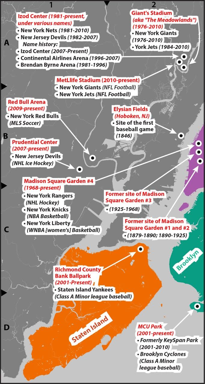 Map Of New York 2001.The Pop Culture Lover S Guide To New York City Legendary Sports